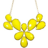 Wrapables Fancy Drop Shape Bubble Bib Statement Necklace, Yellow
