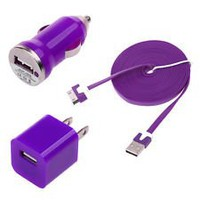 Mikeswireless 3 in 1 Combo Kit Tangle Free Noodle Flat Purple Wall +Car Charger+usb Cable for Apple Iphone 3g 3gs 4 4s Ipad 1 2 Ipod Color