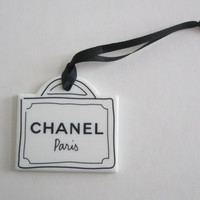Authentic CHANEL Sketch of Shopping Bag Plastic Ornament / Bag Charm / Keychain / DIY Charm Pendant Brooch Pin Home Decoration *Rare*