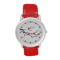 Red Birdies Red Glitters Strap Watch