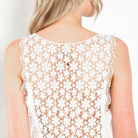 FLORAL CROCHET BACK TOP