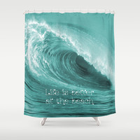 Better at the Beach Shower Curtain by Alice Gosling