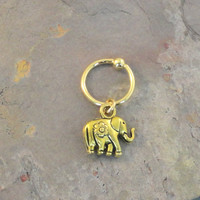 Gold Elephant with Flower CBR Earring Belly Button Jewelry Cartilage Hoop