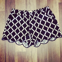 Diamond Print Shorts With Pockets - Black