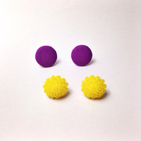 "Handmade ""Fun in the Sun"" Neon Dahlia and Fabric Button Earring - Yellow and purple - electric day carnival EDM festival gear"