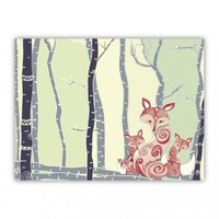 *** FOX FAMILY *** CHILDHOOD Print on Wood - for every nursery and childroom !