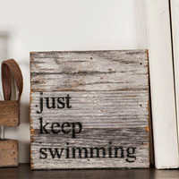 JUST KEEP SWIMMING MINI PLAQUE