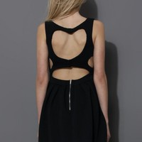 Black Heart Cutout Skater Dress