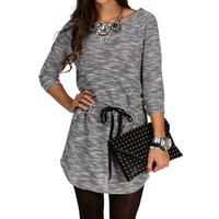 SALE-Black Marled Tie Waist Tunic