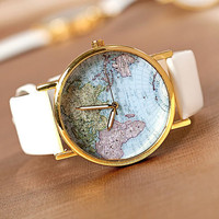 Leather World Map Watch