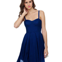 BB Dakota Maida Blue Dress - Blue Dress - Retro Dress - Pleated Dress - $86.00