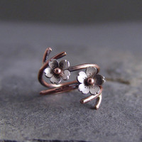 Double Branch Cherry Blossom Adjustable Ring Twig by HapaGirls