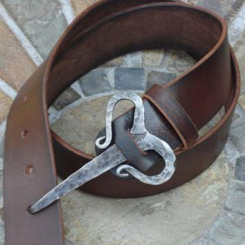 Nordic viking buckle belt - good for re-enactors, unusual artisan belt | blueflameleather - Accessories on ArtFire