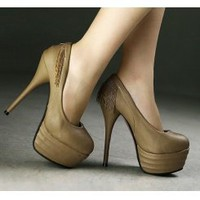Wholesale Fashionable trendy sexy high heel tassel decoration pumps CZ-0519 chocolate - Lovely Fashion