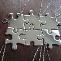6 Puzzle Piece Pendant Necklaces Argentium by GorjessJewellery