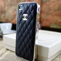 Designer inspired Chanel CC iphone 5/5S Leather hard back Case,black with silver CC logo and frame.luxury style and touch feel, .BUY one get one matched Free 3.5mm diamond Anti dust Ear Cap Dock Plug ,Shipping from Alberta,Canada:Amazon