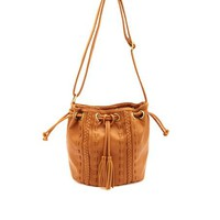 WHIP-STITCHED & BRAIDED CROSS-BODY BUCKET BAG