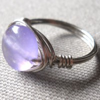 Purple Jade Wrapped Silver Wire Ring Size 6