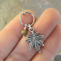 Marijuana Pot Leaf CBR Captive Bead Ring Hoop