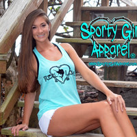 Teal Mint Aqua Colored Womens Fishing Tank Top This