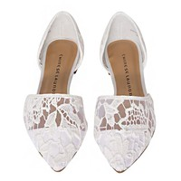 White Lace Pointy Flats