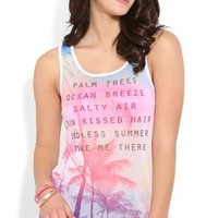 Rayon span high low tank with sublimated mesh tropical screen front and AB stones