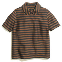 Curved-Collar Top in Stripe