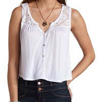 LACE YOKE BUTTON-UP TANK TOP