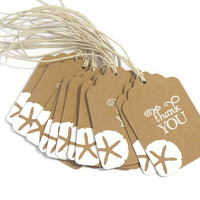 Beach Wedding Favor Tags - Beach Theme Thank you Tags - Kraft Tags - Pack of 10