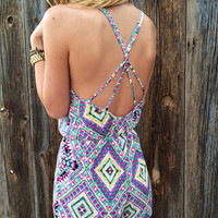 Cross Back Southwestern Romper