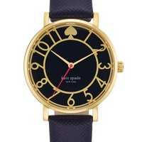kate spade new york 'metro' round Saffiano leather strap watch, 34mm