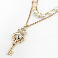 Vintage Themed Golden Key and Pearls Costume Necklace