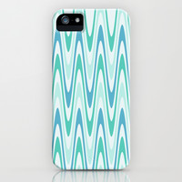 Blue and Green Waves iPhone & iPod Case by KCavender Designs