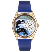 Whimsical Womens Whales Royal Blue Leather Watch