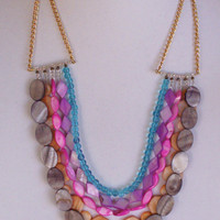 Statement Necklace Multicolor Multistrand Beaded Necklace