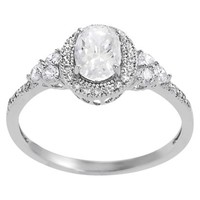 Tressa Collection Sterling Silver Cubic Zirconia Oval Bridal Ring - Silver