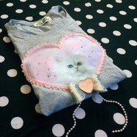 Grey and Pink Persian Digital Print Applique Long Sleeve Tee
