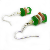 Sea Glass and Shell earrings, Beach Inspired Earrings, Recycled Glass Earrings, Green Glass Earrings