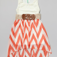 Coral Zigzag Belted Hi-Low Dress | Daily deals for moms, babies and kids