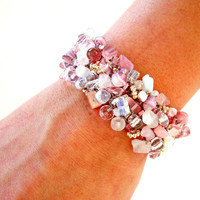 Pastel Pink Beaded Bracelet / Rose Quartz Cuff / Moonstone / Unique Artisan Knit Jewelry OOAK