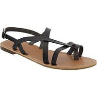 Women's Cross-Front Faux-Leather Sandals