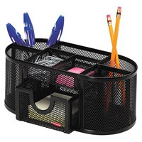 Rolodex Mesh Pencil Cup Organizer, Four Compartments, Steel, 9 1/3 x 4 1/2 x 4 - Black