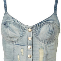 MOTO Denim Bralet - Belief - Collections - Topshop USA