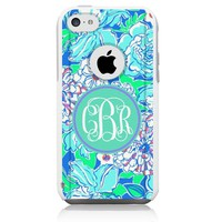 iPhone 5c Case White Lilly Monogram Blue (Generic for Otterbox Commuter)