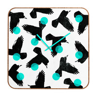 Elisabeth Fredriksson Birds II Blue Custom Clock