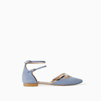 FLAT POINTY SANDAL WITH ANKLE STRAPS