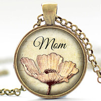 Mom Necklace, Mother's Day Jewelry, Pink Flower Pendant, Gift for Her (1743)