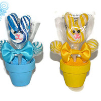 Easter Bunny Mini Lollipop Arrangement, Easter Gift, Easter Candy, Lollipop, Candy, Easter Bunny, Boy, Girl, Gift, Easter Basket, Easter