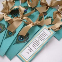 Peacock Wedding Bookmark Favors by Michelle Worldesigns | Hatch.co
