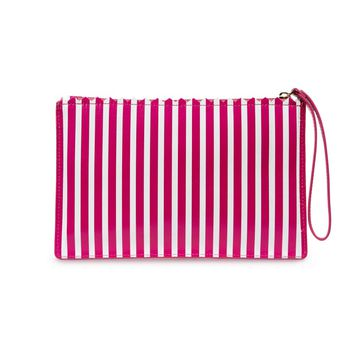 Magenta & White Stripe Leather Medium Pouch | Oversized Clutches | Clutches | Lulu Guinness